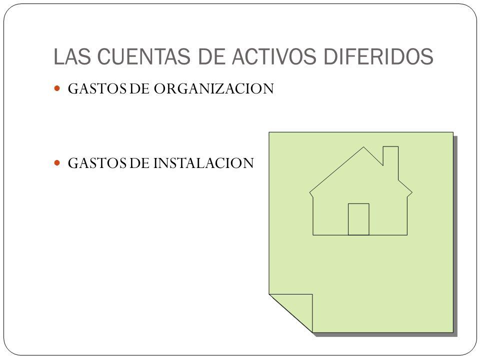LAS CUENTAS DE ACTIVOS DIFERIDOS GASTOS DE ORGANIZACION GASTOS DE INSTALACION