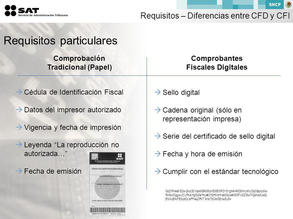 Cédula de Identificación Fiscal Datos del impresor autorizado Vigencia y fecha de impresión Leyenda La reproducción no autorizada… Fecha de emisión Comprobación Tradicional (Papel) Comprobantes Fiscales Digitales Sello digital Cadena original (sólo en representación impresa) Serie del certificado de sello digital Fecha y hora de emisión Cumplir con el estándar tecnológico Requisitos particulares GqDiRrea6 E2wQhqOCVzwME4866yVEME/8PD1S1g6AV48D8VrLhKUDq0Sjqnp9Iw fMAbX0ggwUCLRKa Hg5q8aYhya63If2HVqH1sA08poer080P1J6Z BwTrQkhcb5Jw8j ENXoErkFE8qdOcIdFFAuZPVT 9mkTb0Xn5Emu5U8= Requisitos – Diferencias entre CFD y CFI