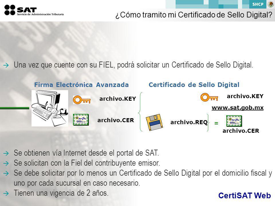 Una vez que cuente con su FIEL, podrá solicitar un Certificado de Sello Digital.