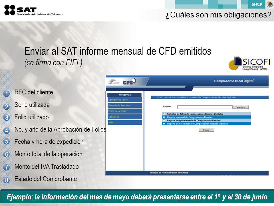 Ejemplo: la información del mes de mayo deberá presentarse entre el 1° y el 30 de junio Enviar al SAT informe mensual de CFD emitidos (se firma con FIEL) 1 2 3 5 4 6 7 8 RFC del cliente Serie utilizada Folio utilizado No.