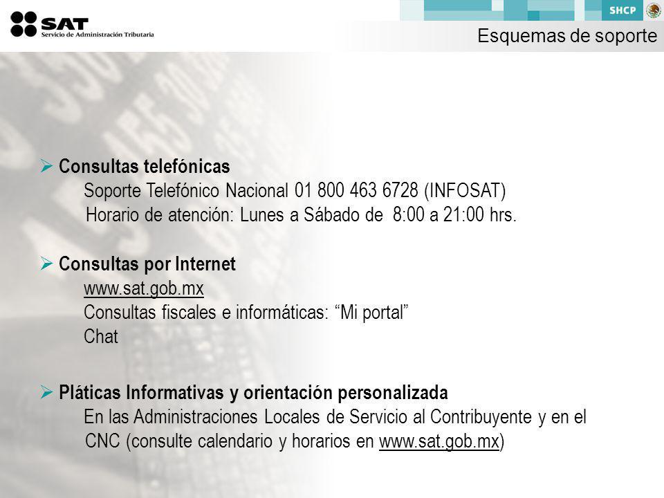 Consultas telefónicas Soporte Telefónico Nacional 01 800 463 6728 (INFOSAT) Horario de atención: Lunes a Sábado de 8:00 a 21:00 hrs.