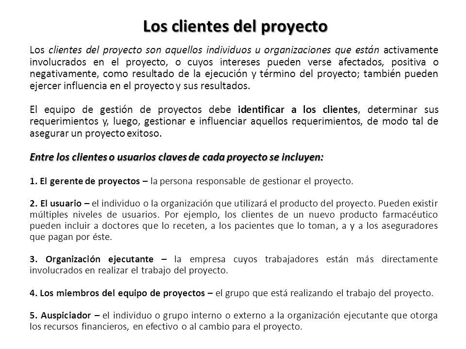 Los clientes del proyecto son aquellos individuos u organizaciones que están activamente involucrados en el proyecto, o cuyos intereses pueden verse a