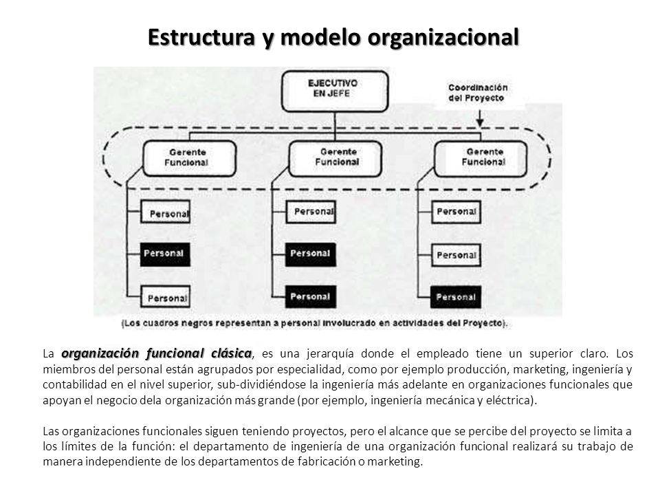 Estructura y modelo organizacional organización funcional clásica La organización funcional clásica, es una jerarquía donde el empleado tiene un superior claro.
