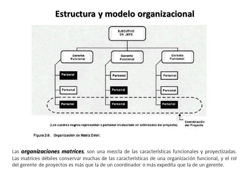 organizaciones matrices Las organizaciones matrices, son una mezcla de las características funcionales y proyectizadas. Las matrices débiles conservar