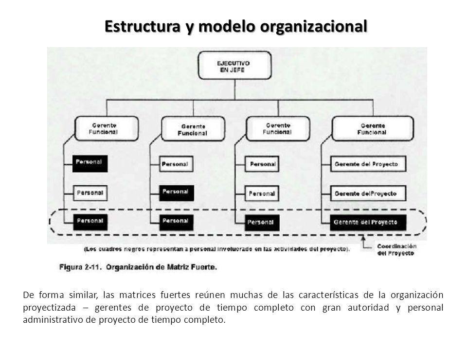 De forma similar, las matrices fuertes reúnen muchas de las características de la organización proyectizada – gerentes de proyecto de tiempo completo con gran autoridad y personal administrativo de proyecto de tiempo completo.