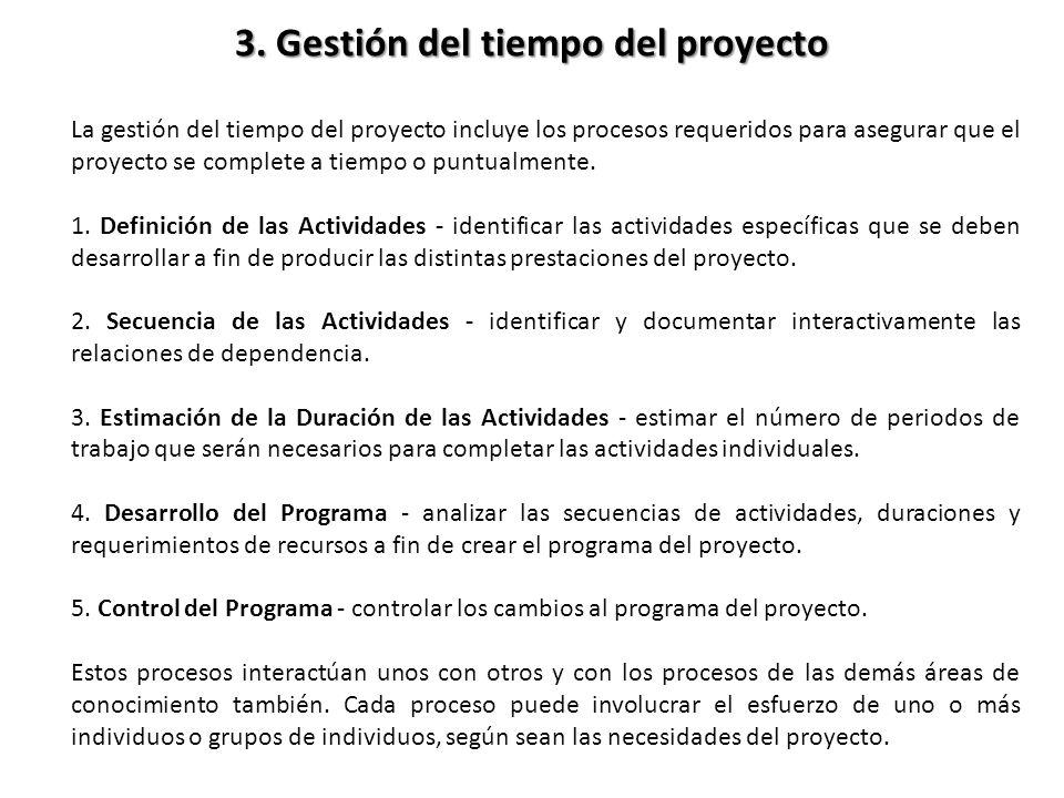 La gestión del tiempo del proyecto incluye los procesos requeridos para asegurar que el proyecto se complete a tiempo o puntualmente. 1. Definición de