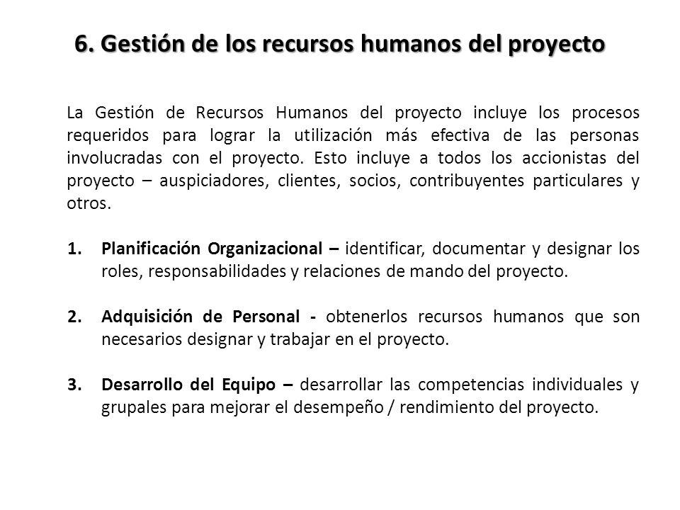 La Gestión de Recursos Humanos del proyecto incluye los procesos requeridos para lograr la utilización más efectiva de las personas involucradas con e