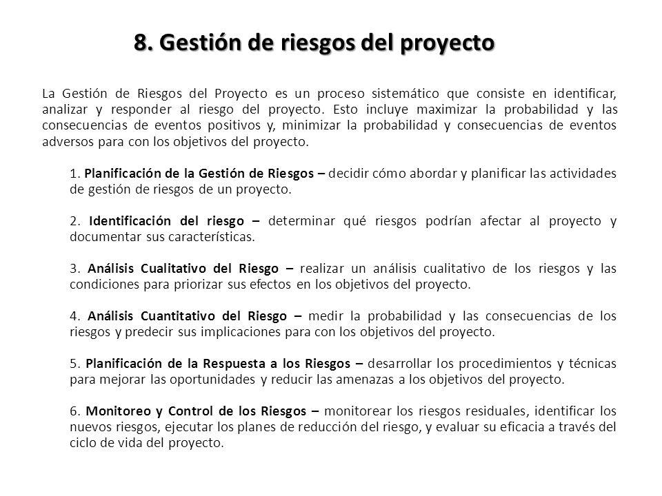 La Gestión de Riesgos del Proyecto es un proceso sistemático que consiste en identificar, analizar y responder al riesgo del proyecto.