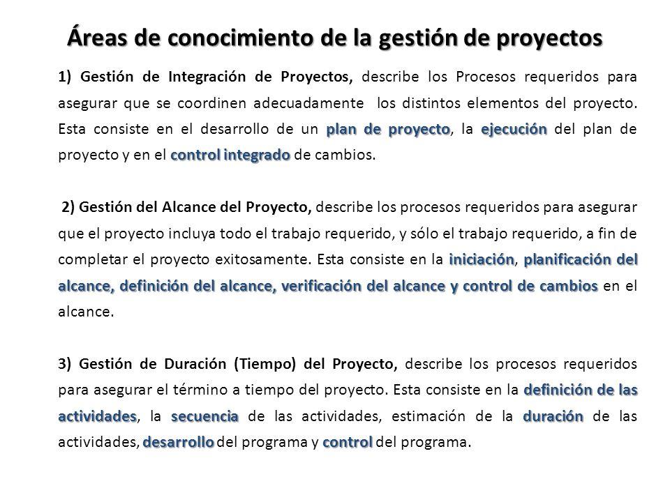 plan de proyectoejecución control integrado 1) Gestión de Integración de Proyectos, describe los Procesos requeridos para asegurar que se coordinen ad