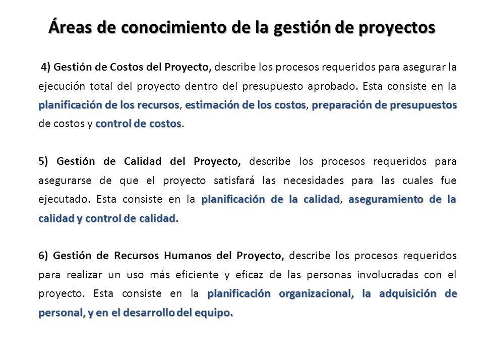 planificación de los recursosestimación de los costospreparación de presupuestos control de costos 4) Gestión de Costos del Proyecto, describe los pro