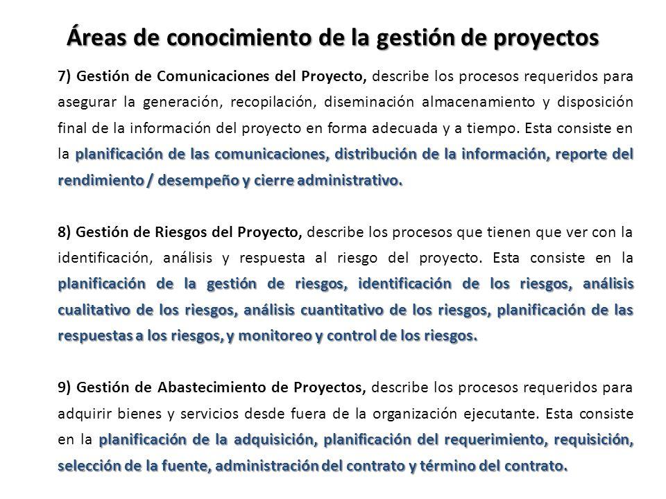 planificación de las comunicaciones, distribución de la información, reporte del rendimiento / desempeño y cierre administrativo. 7) Gestión de Comuni