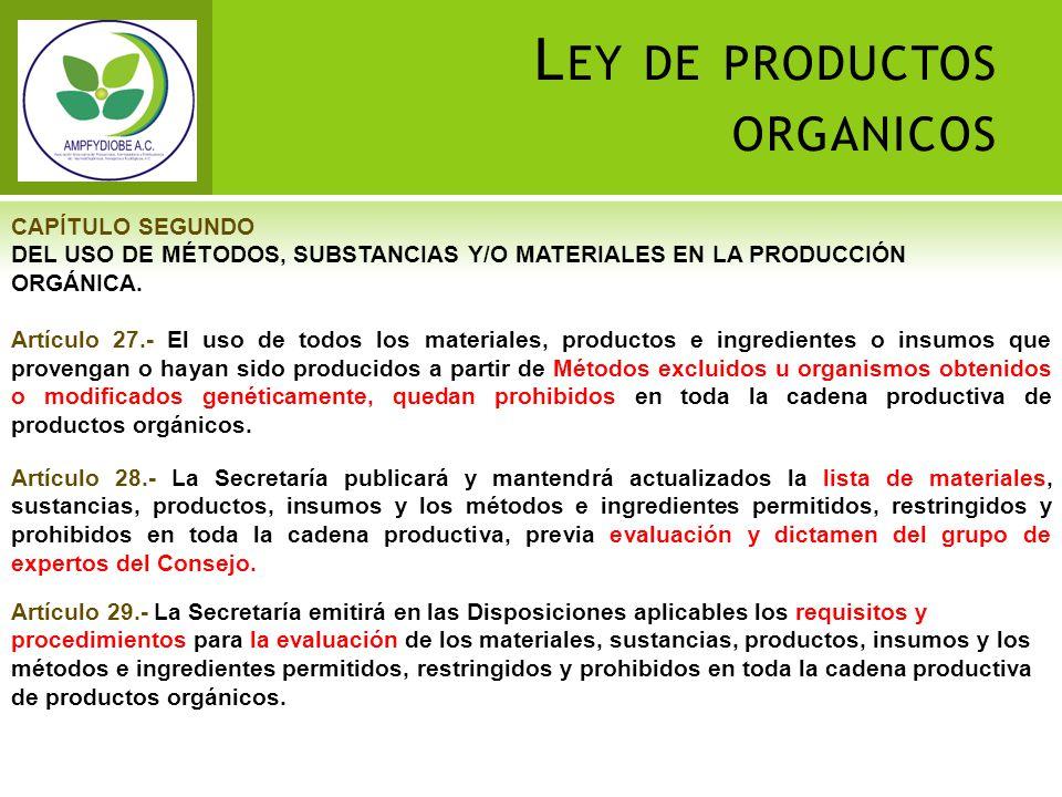L EY DE PRODUCTOS ORGANICOS CAPÍTULO SEGUNDO DEL USO DE MÉTODOS, SUBSTANCIAS Y/O MATERIALES EN LA PRODUCCIÓN ORGÁNICA. Artículo 27.- El uso de todos l