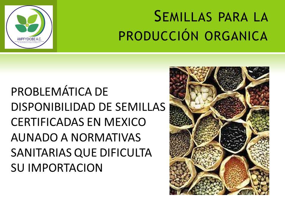 S EMILLAS PARA LA PRODUCCIÓN ORGANICA PROBLEMÁTICA DE DISPONIBILIDAD DE SEMILLAS CERTIFICADAS EN MEXICO AUNADO A NORMATIVAS SANITARIAS QUE DIFICULTA S