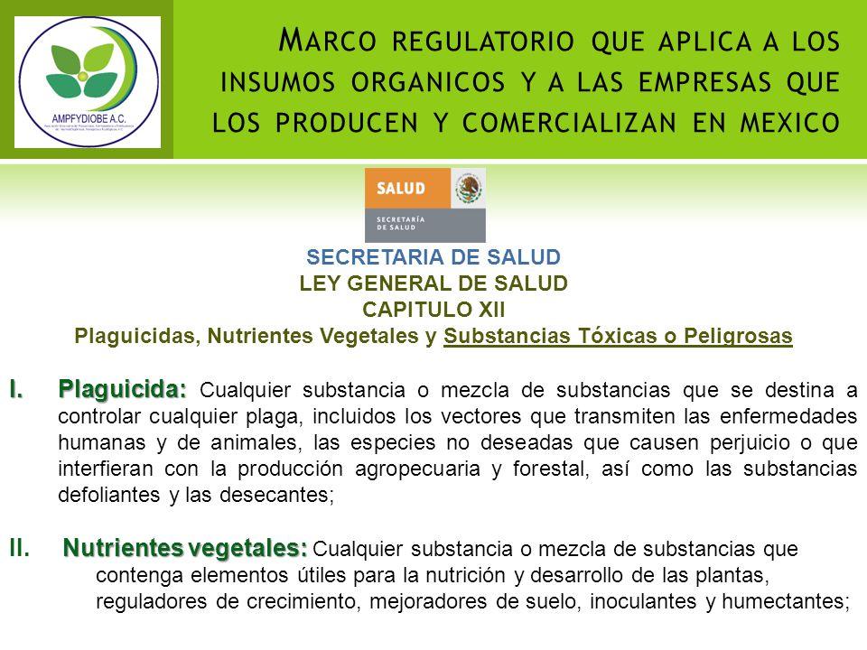 SECRETARIA DE SALUD LEY GENERAL DE SALUD CAPITULO XII Plaguicidas, Nutrientes Vegetales y Substancias Tóxicas o Peligrosas I.Plaguicida: I.Plaguicida: