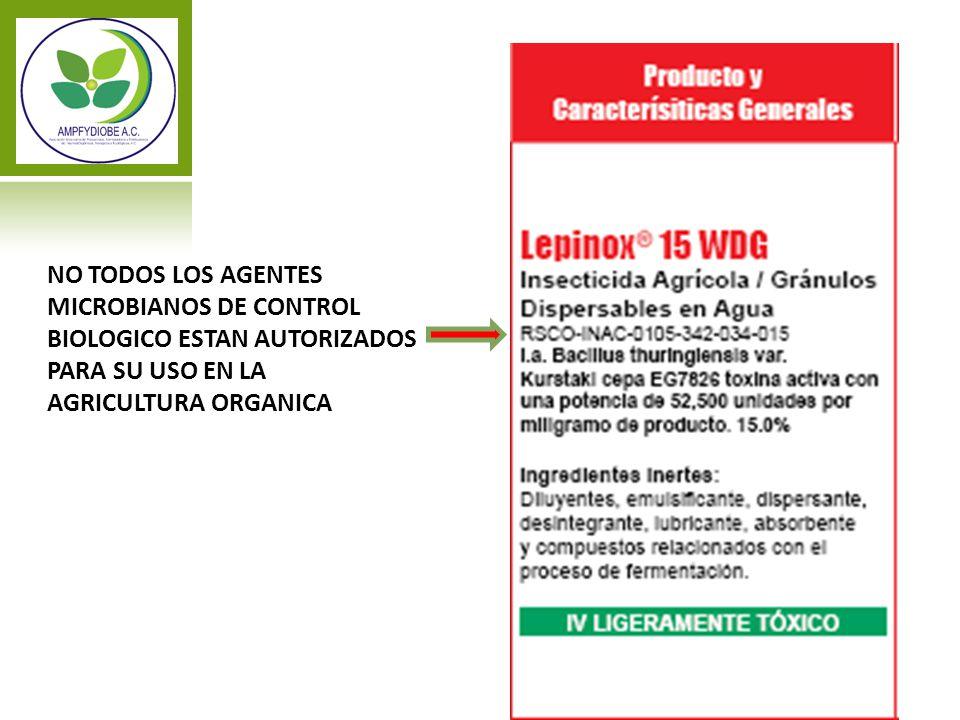 NO TODOS LOS AGENTES MICROBIANOS DE CONTROL BIOLOGICO ESTAN AUTORIZADOS PARA SU USO EN LA AGRICULTURA ORGANICA