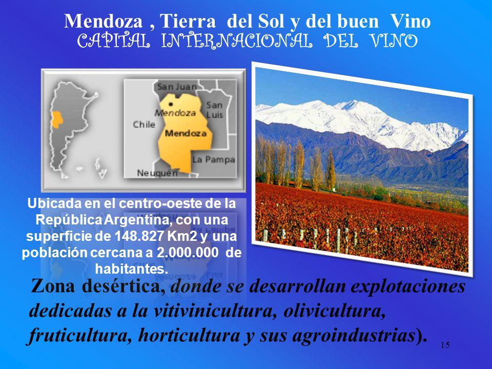 15 Mendoza, Tierra del Sol y del buen Vino CAPITAL INTERNACIONAL DEL VINO Zona desértica, donde se desarrollan explotaciones dedicadas a la vitivinicultura, olivicultura, fruticultura, horticultura y sus agroindustrias).