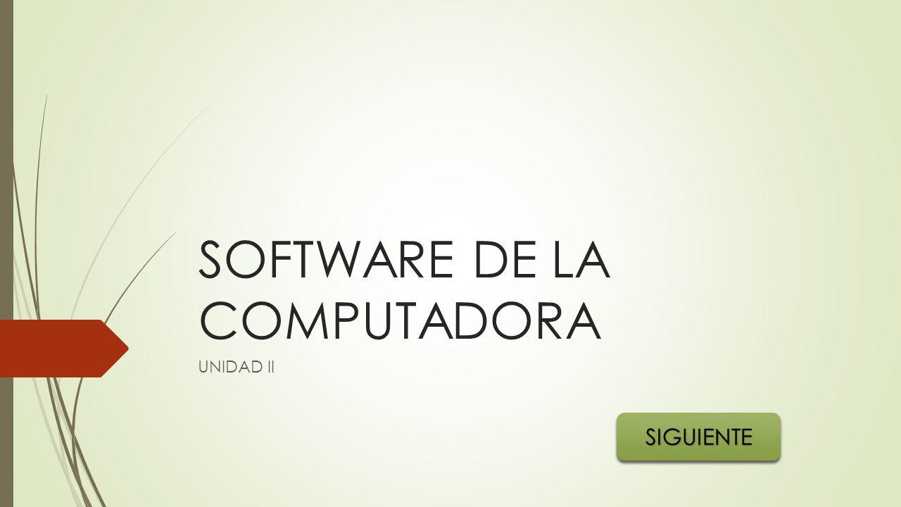 SOFTWARE DE LA COMPUTADORA UNIDAD II SIGUIENTE