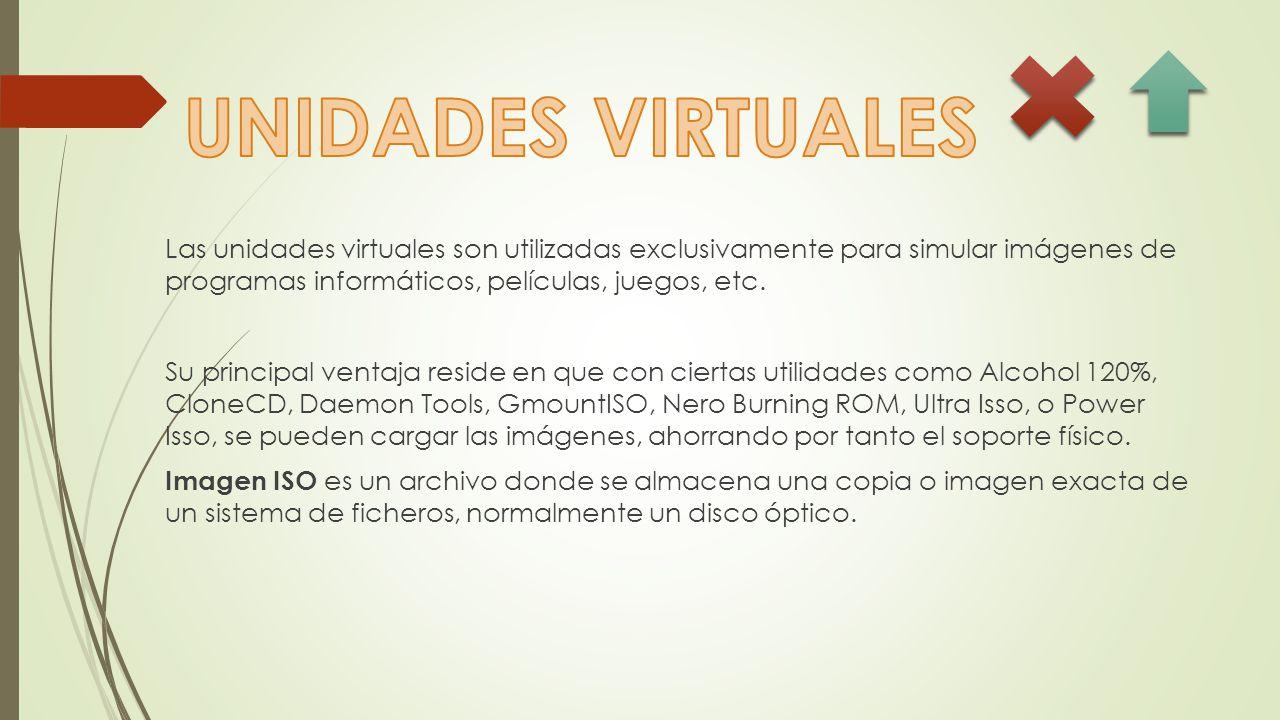 Las unidades virtuales son utilizadas exclusivamente para simular imágenes de programas informáticos, películas, juegos, etc.