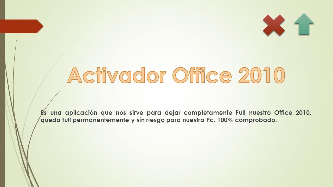 Es una aplicación que nos sirve para dejar completamente Full nuestro Office 2010, queda full permanentemente y sin riesgo para nuestra Pc.