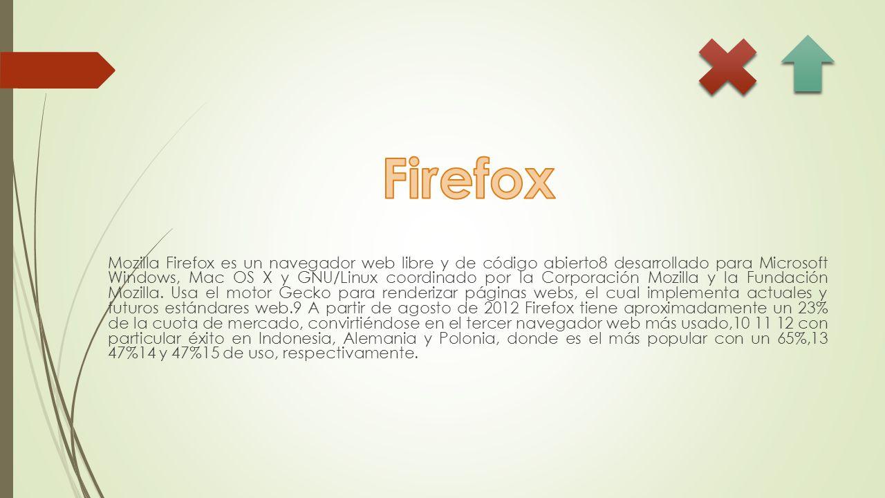 Mozilla Firefox es un navegador web libre y de código abierto8 desarrollado para Microsoft Windows, Mac OS X y GNU/Linux coordinado por la Corporación Mozilla y la Fundación Mozilla.