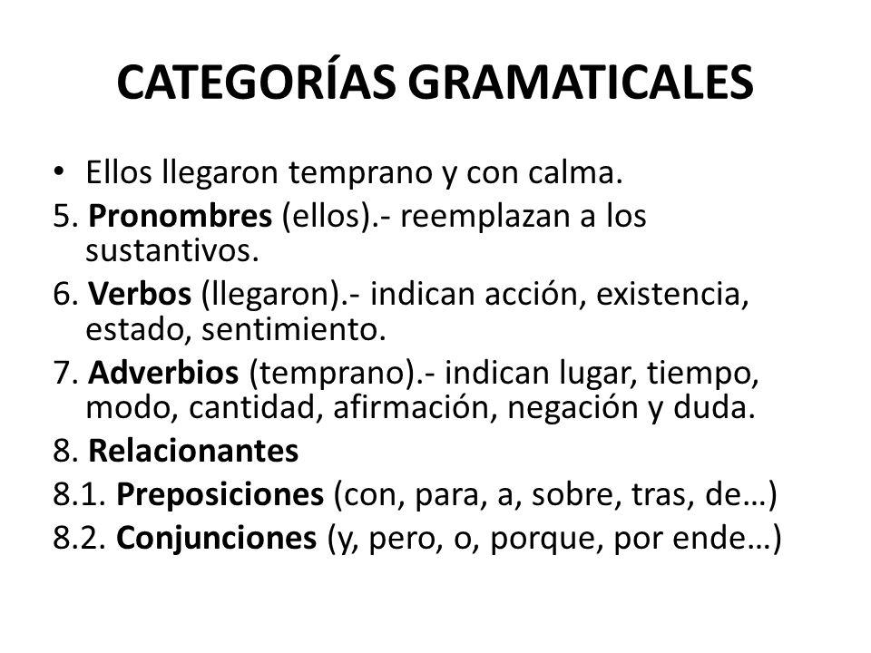 CATEGORÍAS GRAMATICALES Ellos llegaron temprano y con calma. 5. Pronombres (ellos).- reemplazan a los sustantivos. 6. Verbos (llegaron).- indican acci