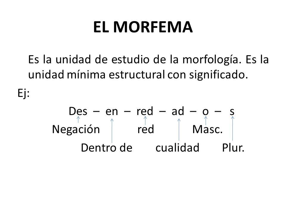 EL MORFEMA Es la unidad de estudio de la morfología. Es la unidad mínima estructural con significado. Ej: Des – en – red – ad – o – s Negación red Mas