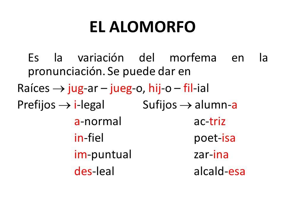 EL ALOMORFO Es la variación del morfema en la pronunciación. Se puede dar en Raíces jug-ar – jueg-o, hij-o – fil-ial Prefijos i-legal Sufijos alumn-a