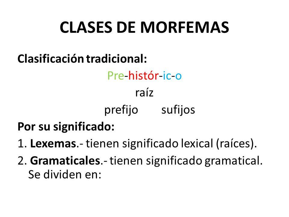 CLASES DE MORFEMAS Clasificación tradicional: Pre-histór-ic-o raíz prefijo sufijos Por su significado: 1. Lexemas.- tienen significado lexical (raíces