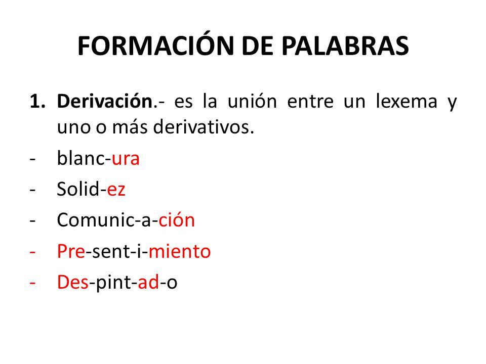 FORMACIÓN DE PALABRAS 1.Derivación.- es la unión entre un lexema y uno o más derivativos. -blanc-ura -Solid-ez -Comunic-a-ción -Pre-sent-i-miento -Des