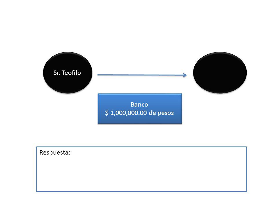 Sr. Teofilo Banco $ 1,000,000.00 de pesos Banco $ 1,000,000.00 de pesos Respuesta:
