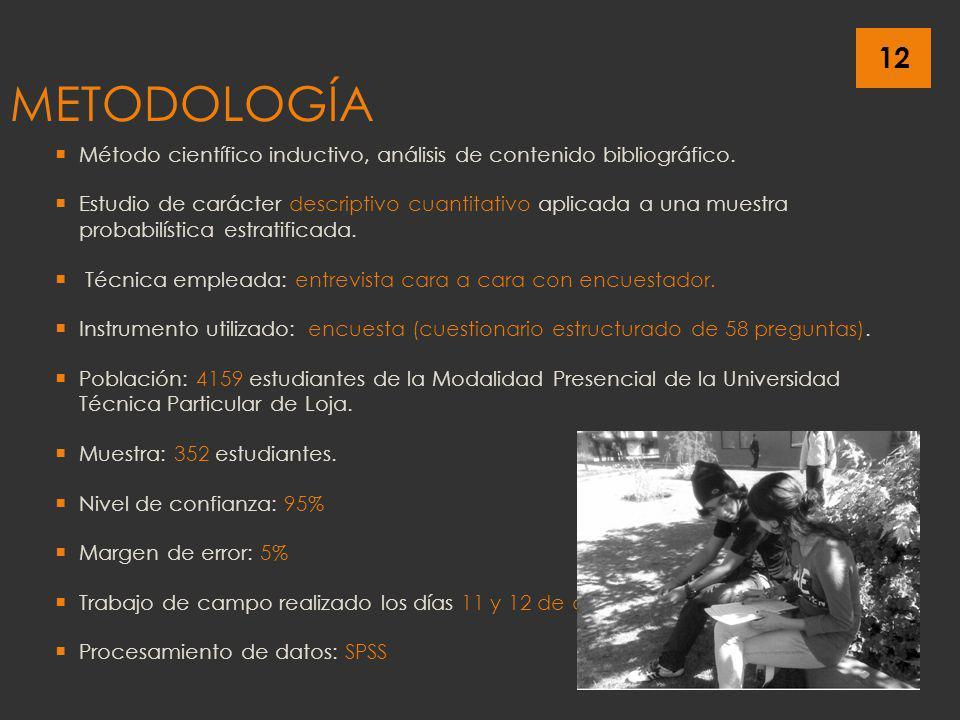 12 METODOLOGÍA Método científico inductivo, análisis de contenido bibliográfico. Estudio de carácter descriptivo cuantitativo aplicada a una muestra p