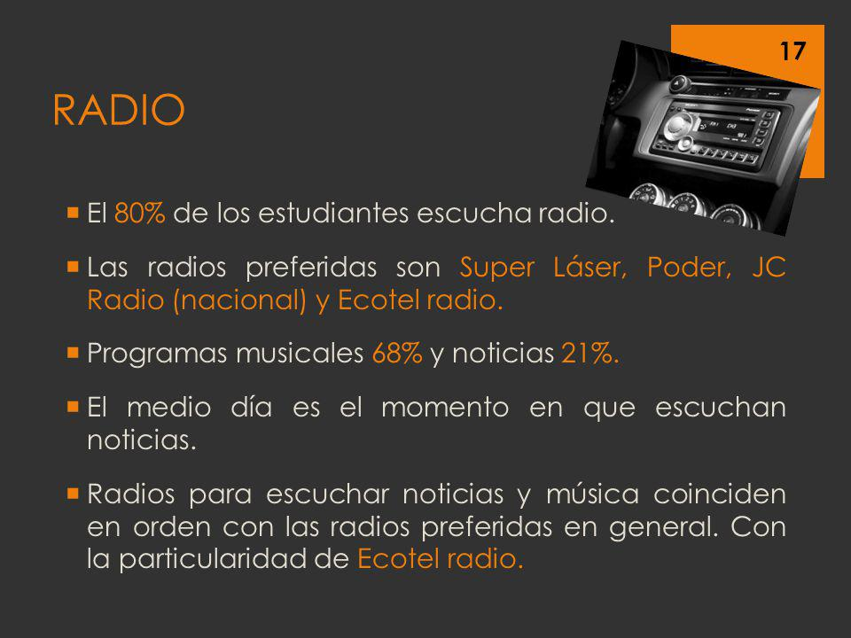 El 80% de los estudiantes escucha radio. Las radios preferidas son Super Láser, Poder, JC Radio (nacional) y Ecotel radio. Programas musicales 68% y n