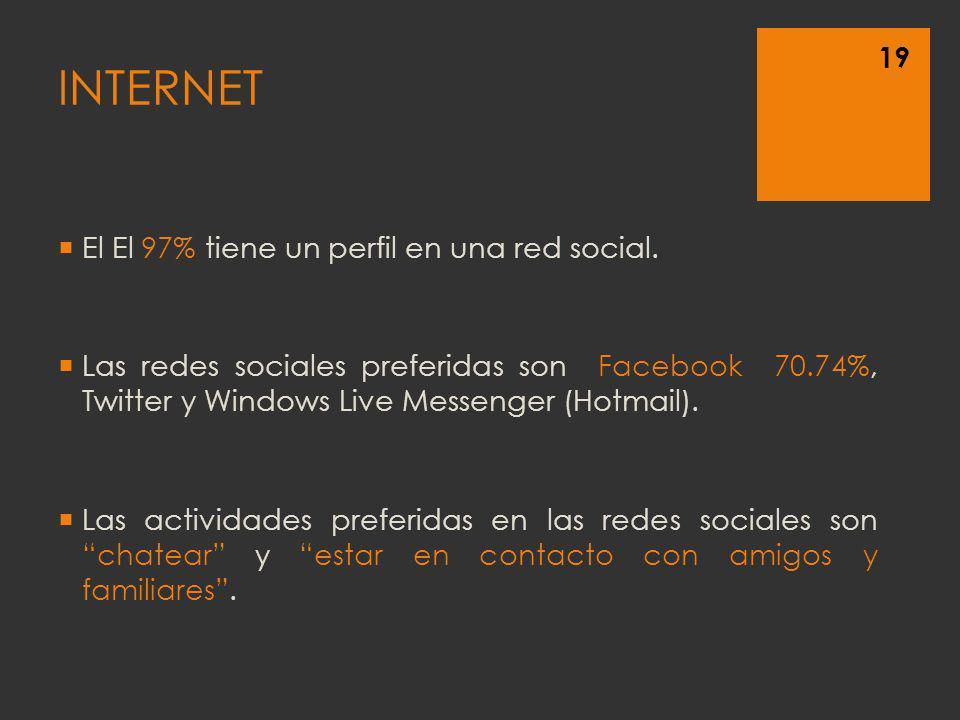 El El 97% tiene un perfil en una red social. Las redes sociales preferidas son Facebook 70.74%, Twitter y Windows Live Messenger (Hotmail). Las activi