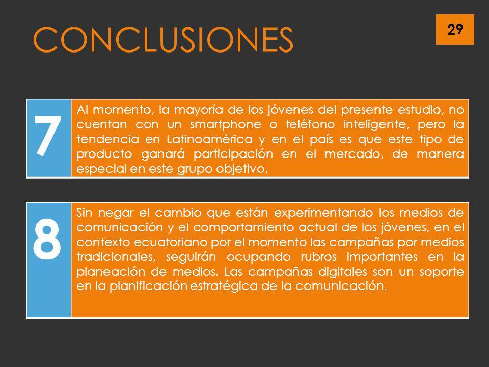 29 CONCLUSIONES 7 Al momento, la mayoría de los jóvenes del presente estudio, no cuentan con un smartphone o teléfono inteligente, pero la tendencia e