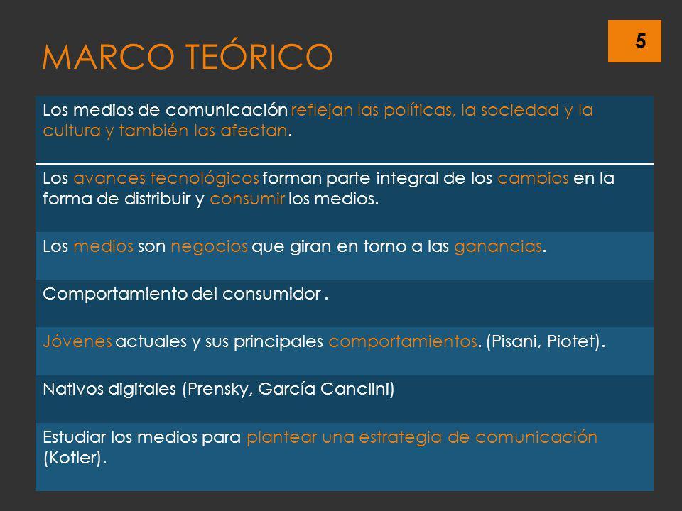 5 MARCO TEÓRICO Los medios de comunicación reflejan las políticas, la sociedad y la cultura y también las afectan. Los avances tecnológicos forman par