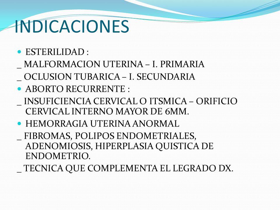 INDICACIONES ESTERILIDAD : _ MALFORMACION UTERINA – I.