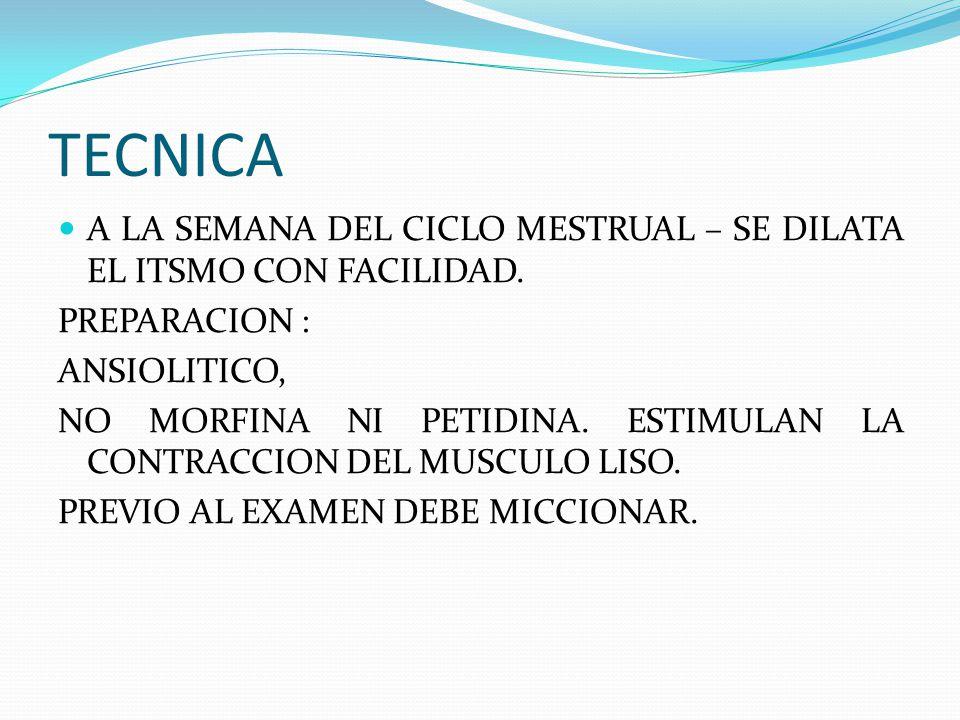 TECNICA A LA SEMANA DEL CICLO MESTRUAL – SE DILATA EL ITSMO CON FACILIDAD.