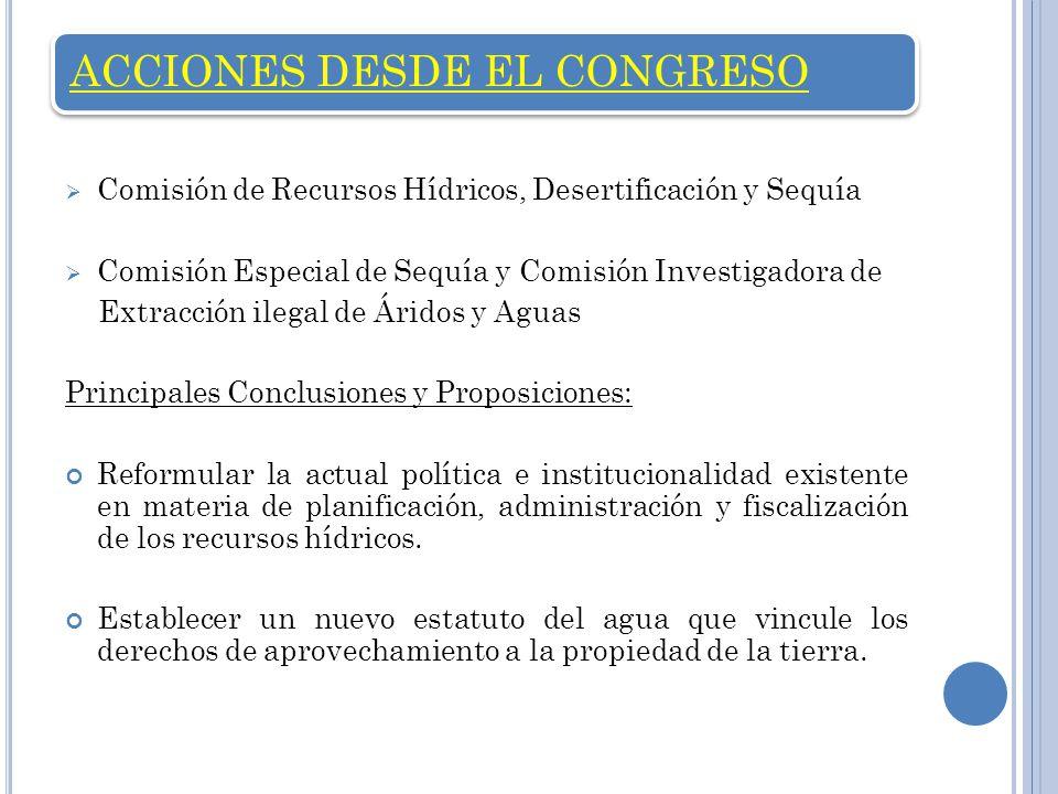 ACCIONES DESDE EL CONGRESO Comisión de Recursos Hídricos, Desertificación y Sequía Comisión Especial de Sequía y Comisión Investigadora de Extracción