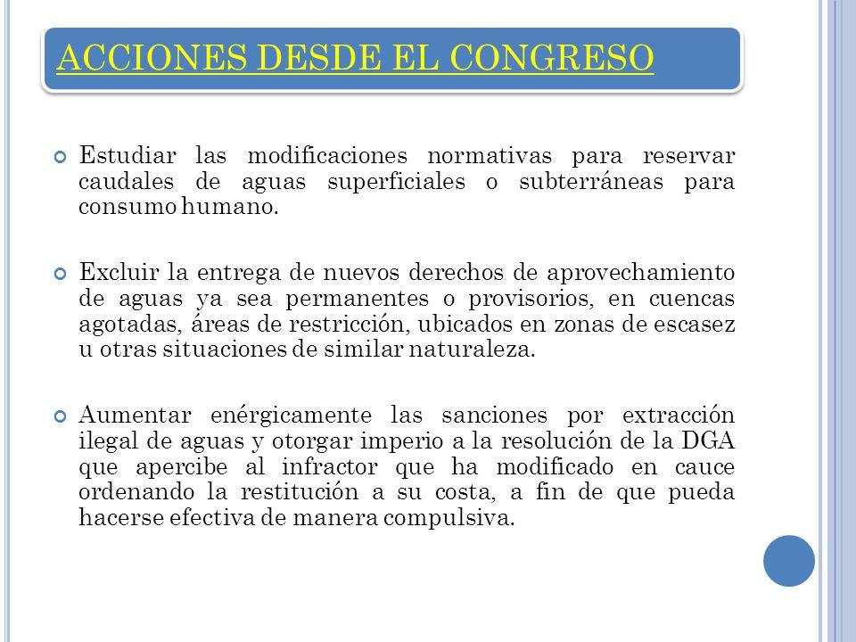 ACCIONES DESDE EL CONGRESO Estudiar las modificaciones normativas para reservar caudales de aguas superficiales o subterráneas para consumo humano. Ex