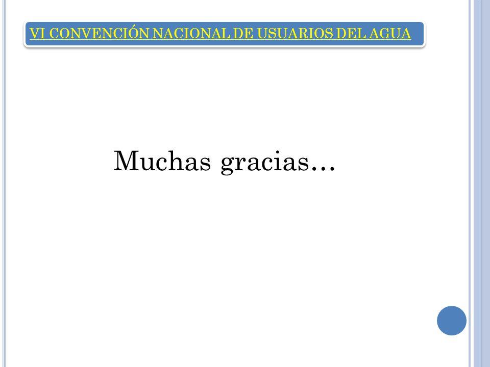 VI CONVENCIÓN NACIONAL DE USUARIOS DEL AGUA Muchas gracias…