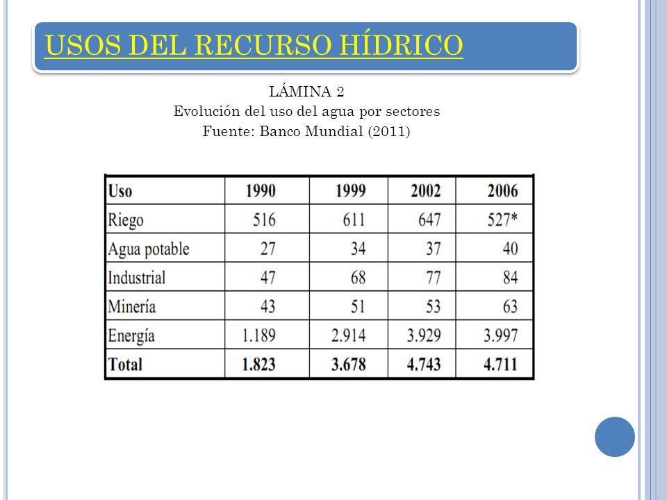 USOS DEL RECURSO HÍDRICO LÁMINA 2 Evolución del uso del agua por sectores Fuente: Banco Mundial (2011)