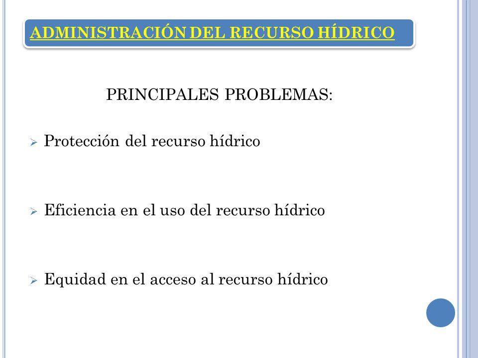 ADMINISTRACIÓN DEL RECURSO HÍDRICO PRINCIPALES PROBLEMAS: Protección del recurso hídrico Eficiencia en el uso del recurso hídrico Equidad en el acceso