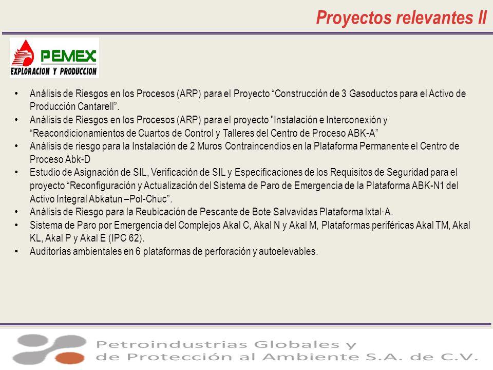 Proyectos relevantes II Análisis de Riesgos en los Procesos (ARP) para el Proyecto Construcción de 3 Gasoductos para el Activo de Producción Cantarell