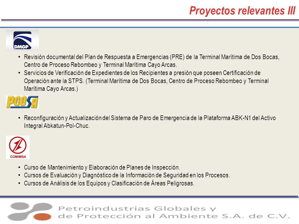 Proyectos relevantes III Revisión documental del Plan de Respuesta a Emergencias (PRE) de la Terminal Marítima de Dos Bocas, Centro de Proceso Rebombe