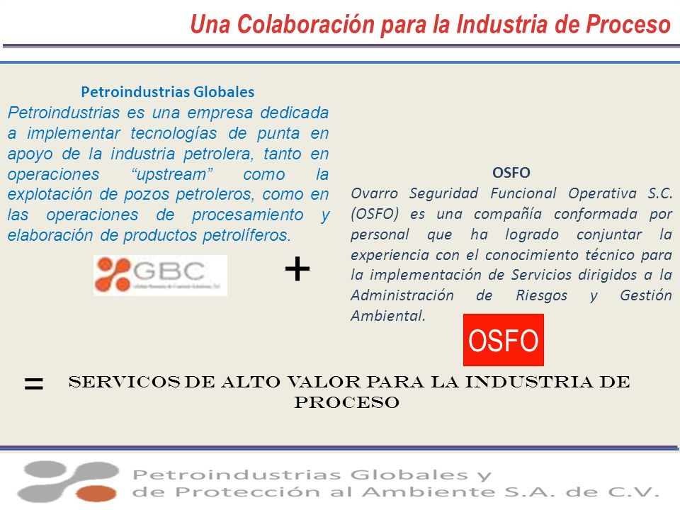 Una Colaboración para la Industria de Proceso Petroindustrias Globales Petroindustrias es una empresa dedicada a implementar tecnologías de punta en a