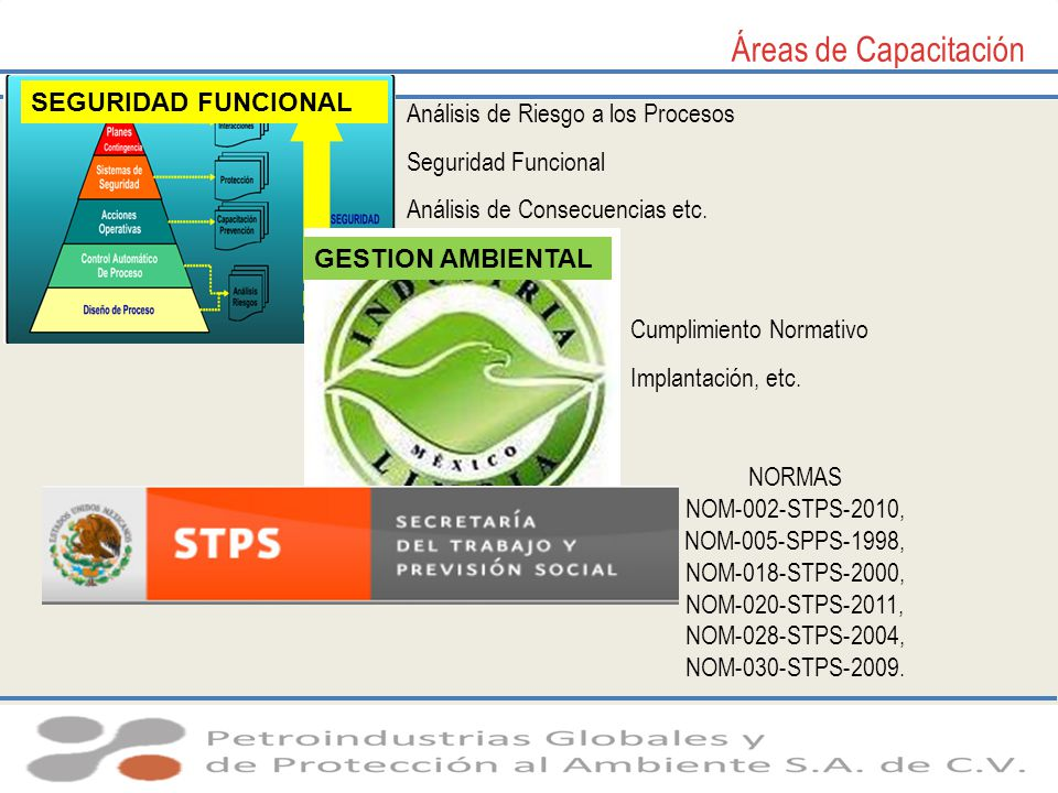 Áreas de Capacitación SEGURIDAD FUNCIONAL GESTION AMBIENTAL Análisis de Riesgo a los Procesos Seguridad Funcional Análisis de Consecuencias etc. Cumpl