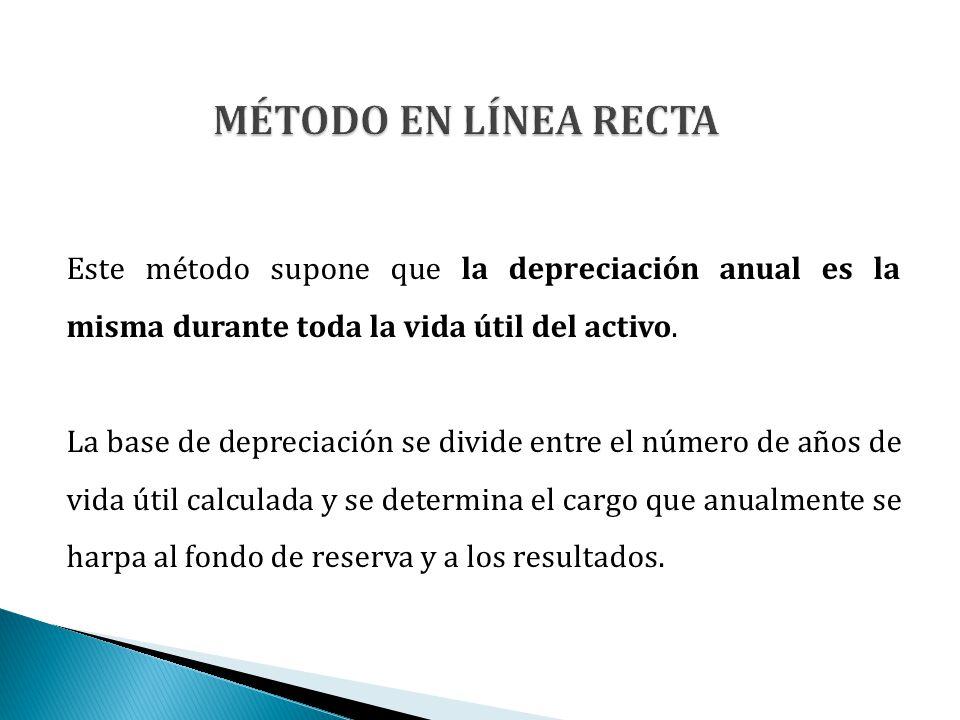 Este método supone que la depreciación anual es la misma durante toda la vida útil del activo. La base de depreciación se divide entre el número de añ