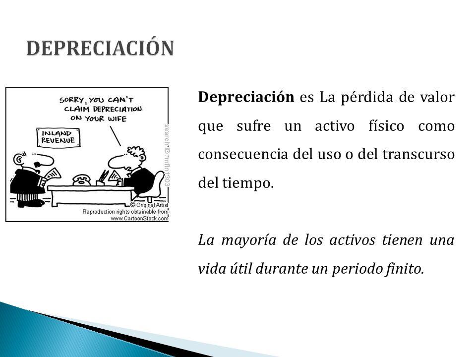 Depreciación es La pérdida de valor que sufre un activo físico como consecuencia del uso o del transcurso del tiempo. La mayoría de los activos tienen