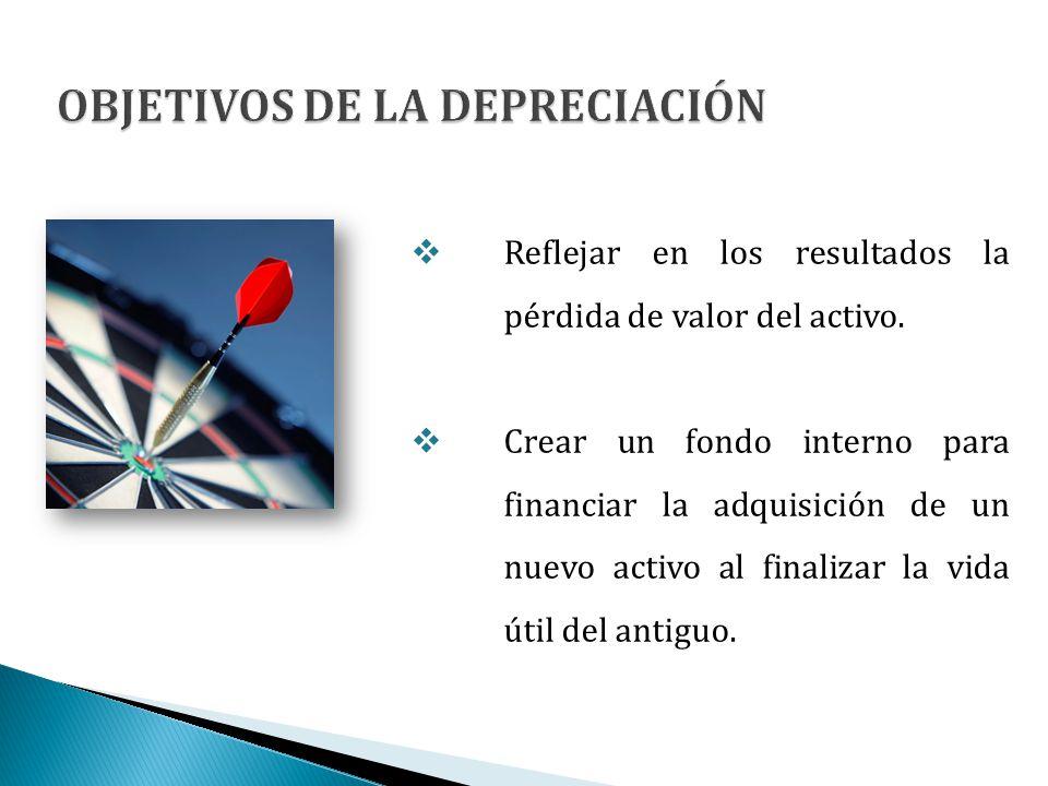 Reflejar en los resultados la pérdida de valor del activo. Crear un fondo interno para financiar la adquisición de un nuevo activo al finalizar la vid