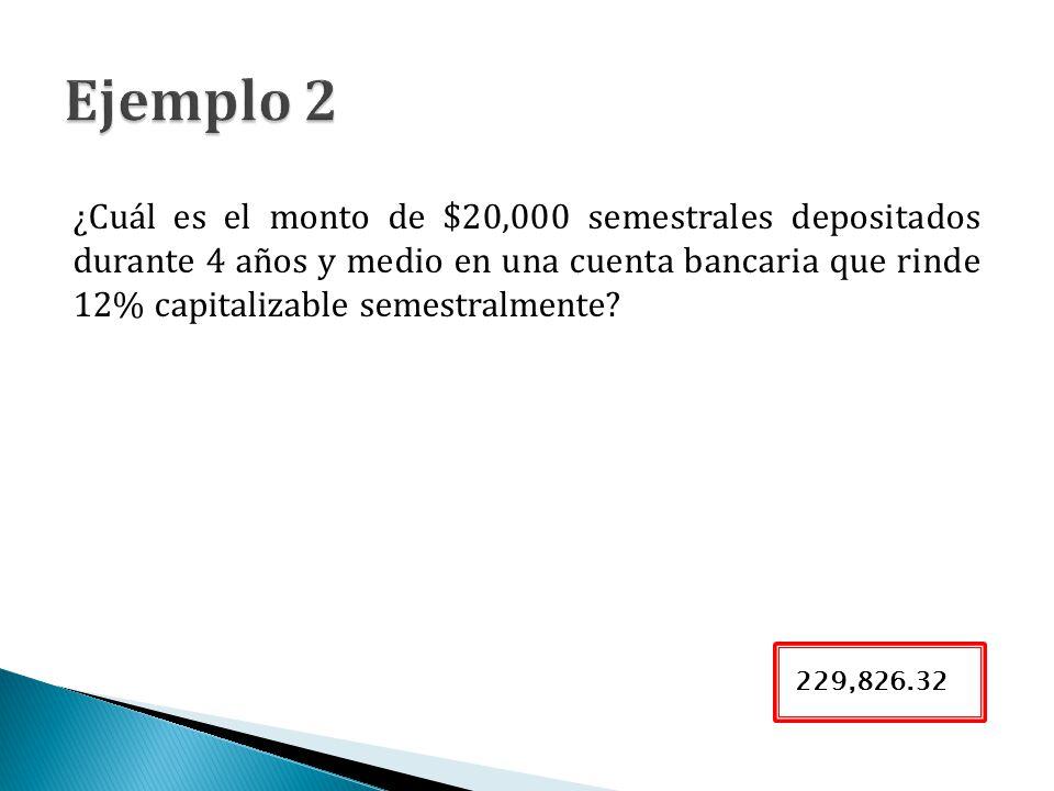 ¿Cuál es el monto de $20,000 semestrales depositados durante 4 años y medio en una cuenta bancaria que rinde 12% capitalizable semestralmente? 229,826